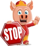 Year of the Pig Character - Vector Pig Cartoon - Stop