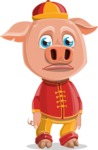 Year of the Pig Character - Vector Pig Cartoon - Sad