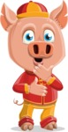 Year of the Pig Character - Vector Pig Cartoon - Shocked