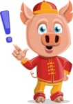Year of the Pig Character - Vector Pig Cartoon - Attention