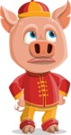 Year of the Pig Character - Vector Pig Cartoon - Roll Eyes