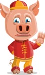Year of the Pig Character - Vector Pig Cartoon - GoodBye