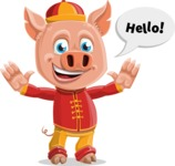 Year of the Pig Character - Vector Pig Cartoon - Hello