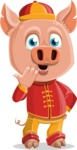 Year of the Pig Character - Vector Pig Cartoon - Oops