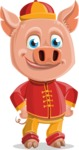 Year of the Pig Character - Vector Pig Cartoon - Patient