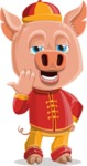 Year of the Pig Character - Vector Pig Cartoon - Bored