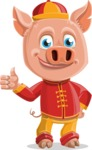 Year of the Pig Character - Vector Pig Cartoon - Thumbs Up
