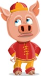 Year of the Pig Character - Vector Pig Cartoon - Bored 2
