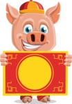 Year of the Pig Character - Vector Pig Cartoon - Year of the Pig Vector Character with Chinese Banner