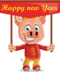 Year of the Pig Character - Vector Pig Cartoon - Year of the Pig Vector Character Greeting Happy New Year