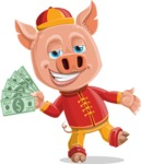 Year of the Pig Character - Vector Pig Cartoon - Year of the Pig Vector Character Holding Money