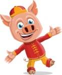 Year of the Pig Character - Vector Pig Cartoon - Wave