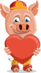 Year of the Pig Character - Vector Pig Cartoon - Year of the Pig Vector Character with a Heart