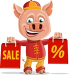 Year of the Pig Character - Vector Pig Cartoon - Year of the Pig Vector Character with Sale Bags