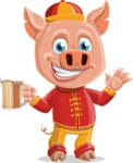 Year of the Pig Character - Vector Pig Cartoon - Year of the Pig Vector Character with Beer