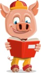 Year of the Pig Character - Vector Pig Cartoon - Year of the Pig Vector Character Reading a Book