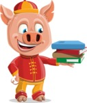 Year of the Pig Character - Vector Pig Cartoon - Year of the Pig Vector Character with Books