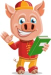 Year of the Pig Character - Vector Pig Cartoon - Year of the Pig Vector Character holding a Book
