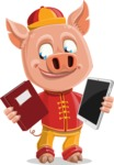 Year of the Pig Character - Vector Pig Cartoon - Year of the Pig Vector Character holding a Book and an iPad