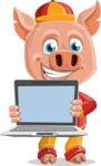 Year of the Pig Character - Vector Pig Cartoon - Year of the Pig Vector Character with a Laptop