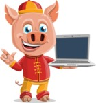 Year of the Pig Character - Vector Pig Cartoon - Year of the Pig Vector Character with a Computer