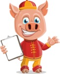 Year of the Pig Character - Vector Pig Cartoon - Year of the Pig Vector Character with a Notepad