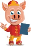 Year of the Pig Character - Vector Pig Cartoon - Year of the Pig Vector Character Holding a Notepad