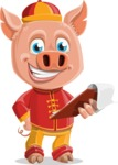 Year of the Pig Character - Vector Pig Cartoon - Year of the Pig Vector Character with Notepad