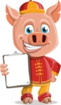 Year of the Pig Character - Vector Pig Cartoon - Year of the Pig Vector Character with Notepad 2
