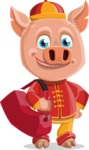 Year of the Pig Character - Vector Pig Cartoon - Traveling Year of the Pig Vector Character