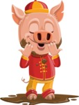 Year of the Pig Character - Vector Pig Cartoon - Year of the Pig Vector Character in a Mud