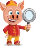 Year of the Pig Character - Vector Pig Cartoon - Searching Year of the Pig Vector Character