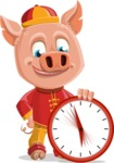 Year of the Pig Character - Vector Pig Cartoon - Year of the Pig Vector Character with Clock