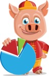 Year of the Pig Character - Vector Pig Cartoon - Year of the Pig Vector Character with Chart