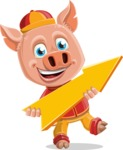 Year of the Pig Character - Vector Pig Cartoon - Year of the Pig Vector Character with Arrow