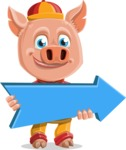 Year of the Pig Character - Vector Pig Cartoon - Year of the Pig Vector Character with Arrow 2