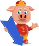 Year of the Pig Character - Vector Pig Cartoon - Year of the Pig Vector Character with Arrow 3