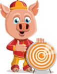 Year of the Pig Character - Vector Pig Cartoon - Year of the Pig Vector Character with Target