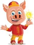 Year of the Pig Character - Vector Pig Cartoon - Year of the Pig Vector Character with a Light Bulb