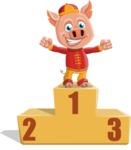 Year of the Pig Character - Vector Pig Cartoon - Year of the Pig Vector Character On Top