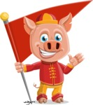 Year of the Pig Character - Vector Pig Cartoon - Year of the Pig Vector Character with a Checkpoint