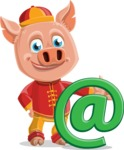 Year of the Pig Character - Vector Pig Cartoon - Year of the Pig Vector Character with a Email Sign