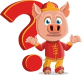 Year of the Pig Character - Vector Pig Cartoon - Year of the Pig Vector Character with a Question