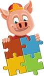 Year of the Pig Character - Vector Pig Cartoon - Year of the Pig Vector Character with a Puzzle