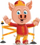 Year of the Pig Character - Vector Pig Cartoon - Year of the Pig Vector Character with Under Construction Sign 2