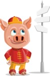 Year of the Pig Character - Vector Pig Cartoon - Year of the Pig Vector Character on a Crossroad