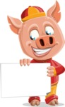 Year of the Pig Character - Vector Pig Cartoon - Sign 3