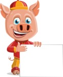 Year of the Pig Character - Vector Pig Cartoon - Sign 8