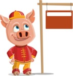 Year of the Pig Character - Vector Pig Cartoon - Sign 9