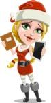 Cute Christmas Girl Cartoon Vector Character - Choosing Between a Book and a Modern Tablet Reading